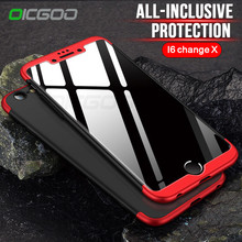 OICGOO Luxury 360 Degree Full Protection Case For iphone 6 6s Plus Cover Case For iphone 6 6s Change X Phone Shell Couqe(China)