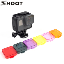 SHOOT Waterproof Diving Filter for GoPro Hero 5 Black Action Camera Lens Cap 6 Colors Red Hero5 Filter Go Pro Accessories(China)
