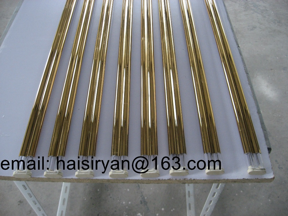 180 degree white/gold coating medium wave IR emitters halogen lamp heater system quartz heating pipe infrared tubes<br>
