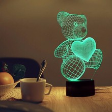 3D LED Night Light Bear Shape 3D Lamp USB LED Lava Lamp 5V 7 Colors Changing Lampara Led Desk Lamp Table Light Kids Bedroom Gift