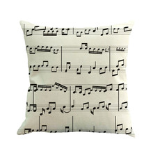 Pillow Case Musical Note Painting Linen Cover Throw Pillow Case Sofa Home Decor Hot Sale Dropshipping Free Shipping R30(China)