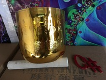 "Buy Alchemy golden crystal singing bowl buddha letter lotus carved 6"" 4th octave C# sexual chakra"