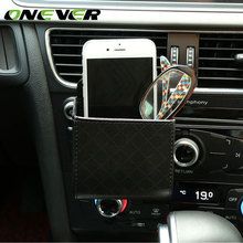 Onever Auto Car Air Vent Hanging Organizer Bag Phone Glasses Cash Card Storage Box Holder for Coins Headphones Keys Small Gadget(China)