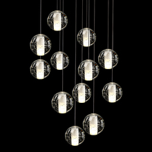 Wholesale LED Crystal Glass Ball Pendant Lamp Meteor Rain Meteoric Shower Stair Bar Droplight Chandelier Lighting AC110-240V(China)