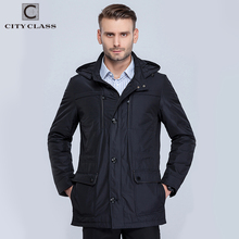 City Class 2016 new mens spring jacket and coat stand collar business style slim unique multi-pocket for male thin cotton 16060(China)