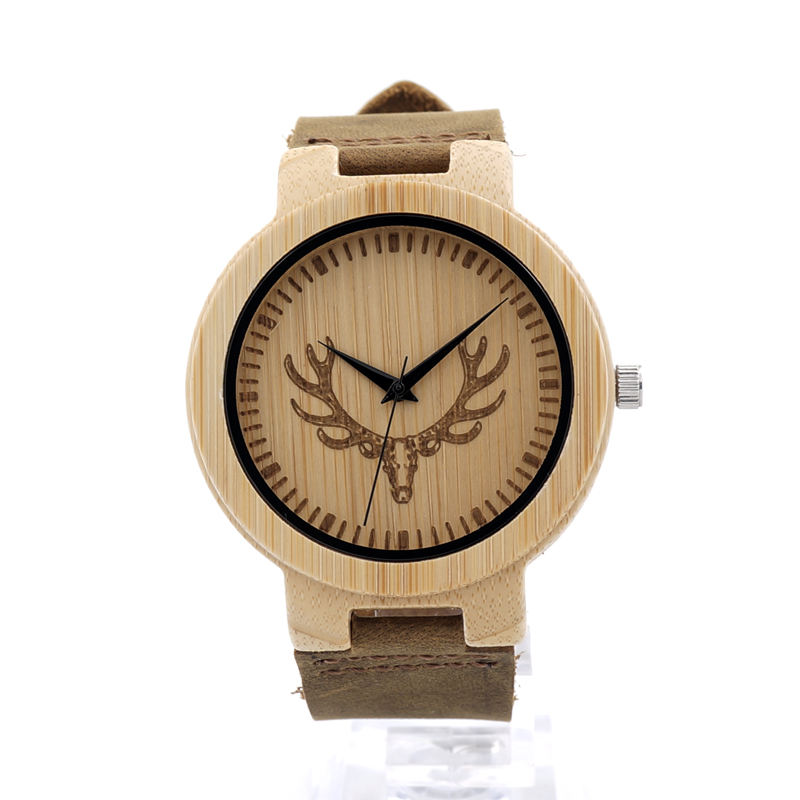 BOBO BIRD D15 Mens Deer Head Design Buck Bamboo Wooden Watches Luxury Wood Bamboo Watch With Leather Quartz Watch for Men Women<br><br>Aliexpress