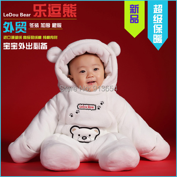 new 2016 autumn winter romper baby clothing newborn Thick cotton Rompers baby boy / girl warm cartoon bear jumpsuit baby costume<br>