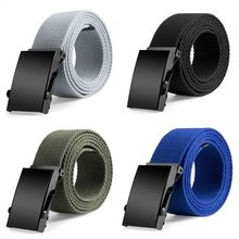 New Plain Canvas Military Web Belt Solid Black Metal Roller Buckle Mens Womens