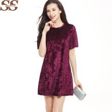 2017 Sexy Solid Velvet Women Dresses Short Sleeve Soild Female Bodycon Vestidos Vintage Dress Women O-neck Loose Party Dress(China)