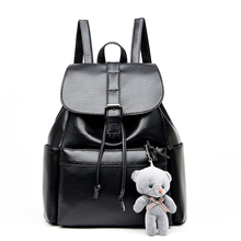 High-grade Leather Backpacks Designer Washed Leather Bag with Little Bear Backpack Retro Korean Backpack Shoulder Bag for Girls