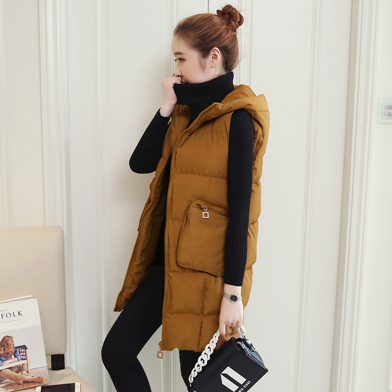 2017 winter Korean version of the new fashion pregnant women loose thin color hooded vest tidal mother<br>