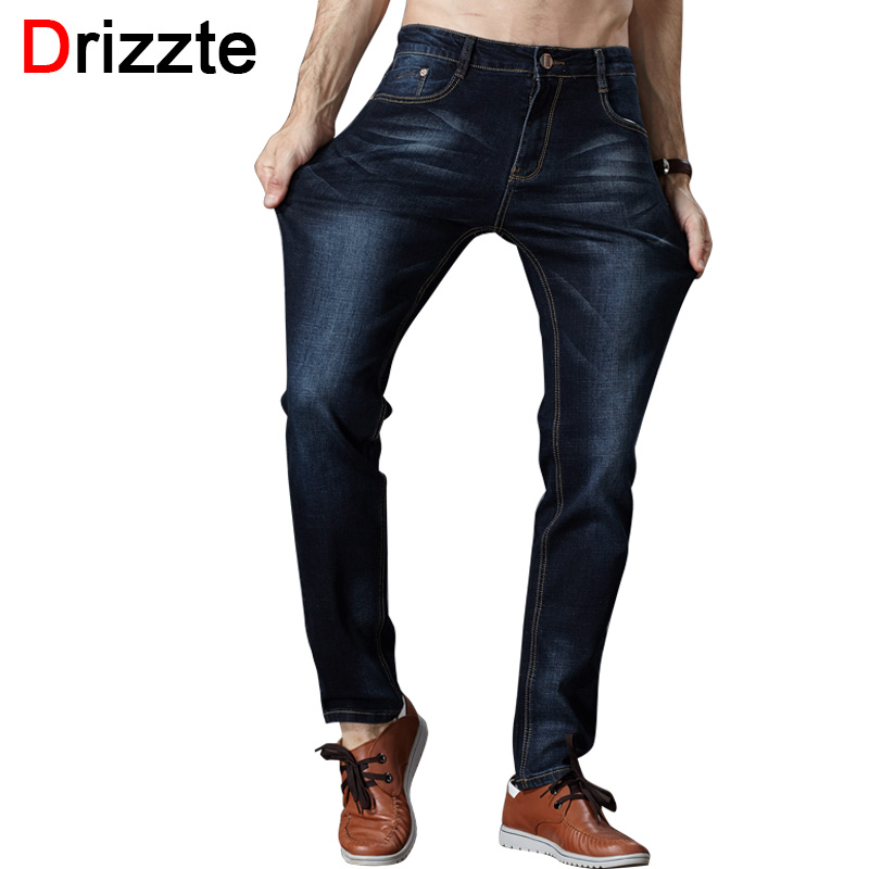 Drizzte Mens Jeans High Stretch Fashion Black Blue Denim Brand Men Slim Fit Jeans Size 30 32 34 35 36 38 40 42 Pants JeanОдежда и ак�е��уары<br><br><br>Aliexpress