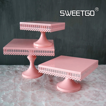 Square Cake Dish Wedding Prop Hollow Out Lace A Snack Disc European WROUGHT IRON Cake Frame Pink Colour High Foot Tray