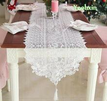 Luxury organza table runner cover doilies mat White embroidery lace bed cloth mantel tablecloth placemat Christmas wedding decor