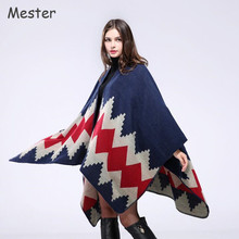 Hot Aztec Knit Cardigan Women Geometric Printed Pashmina European Ethnic Shawls and Wraps Luxury Fuax Cashmere Poncho Cape Coat