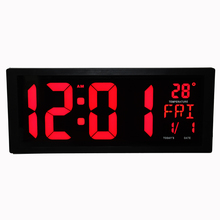 LED Digital Wall Clock with Indoor Temperature Date Week Summer Time and Fold-Out Stand Modern Home Decoration