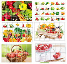 Kitchen aluminum foil waterproof decorative stickers home decor wall stickers food bread fruit juices milk(China)
