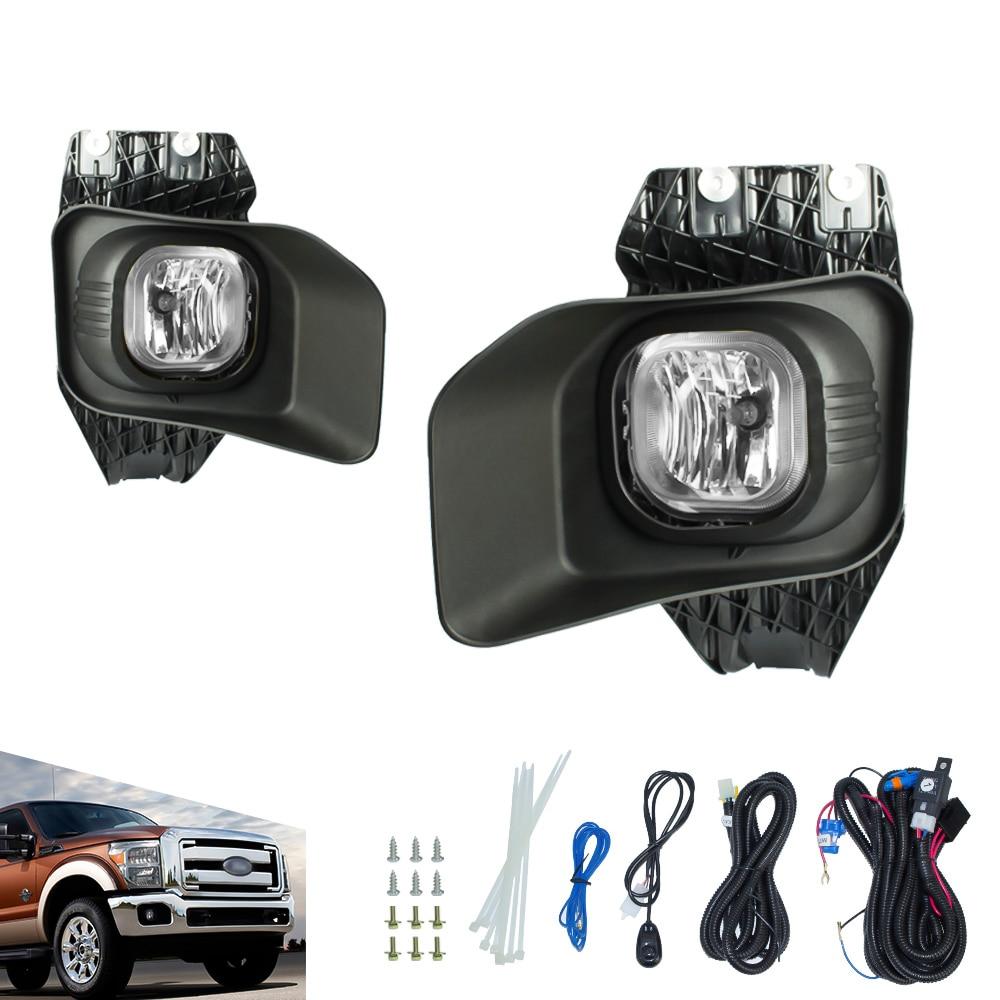 Fog light fit for ford f250 f350 f450 xlt 2011 2015 fog lamp clear yellow lens bumper fog lights