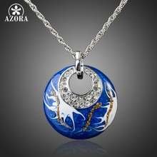 AZORA White Gold Color Stellux Austrian Crystal Oil Painting Pattern Round Pendant Necklace TN0077