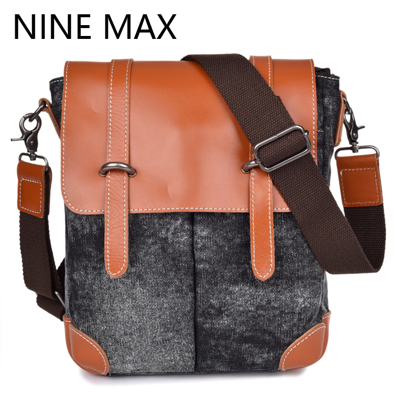 Vintage Canvas Men Single Shoulder Bag Leisure Patchwork Zipper Hasp Handbags Satchels Fashion Crossbody Messenger Bag For Male<br>