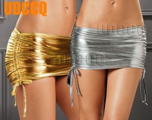 Buy Sexy glisten Metallic PVC FAUX LEATHER Underwear Babydoll Lingerie miniskirt Stripper Party nightclub philabeg leather skirt