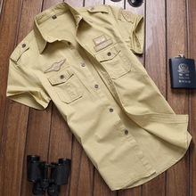 New Arrive 2017 brand Men Shirt Military style Solid Short Sleeve Shirts Work Slim Shirt 100% Cotton casual shirt Plus SizeM-6XL(China)