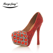New red/silver crystal Bridal Wedding shoes Women fashion High heels Pumps woman real leather Platform shoes round toe(China)