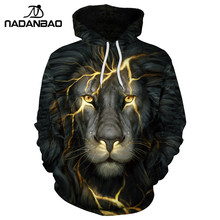 NADANBAO 2017 New Hiphop Hoodies Fashion Style  Animal Night lion 3D Printed  Women Hooded Sweatshirts