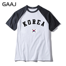 "Print Letter ""Korea Flag"" Man & Women Unisex T-Shirt Printed Funny Funny Cotton  T Shirt Men Hit Color Collar New Casual Tshirt"
