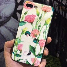 Simple Feather Black White Pink Flower Yellow Bud Cat Silicon PC Phone Back Cover Case for iPhone 6 6S 7 Plus Coque Cover Shell