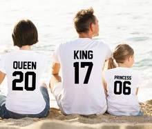 EnjoytheSpirit Good Quality Family Match Tshirt Queen 20 King 17 Princess 06 Funny Letter Print Family Clothes Soft Cotton Tee