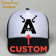 DongKing Custom Trucker Hats Animal Name Letters Printed 26 Capital Letters Caps For Baby Kids Adult Children Personal Gift(China)