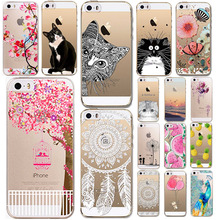 Phone Cases For iphone 6 6s 5 5s SE Soft TPU Clear Luxury Animals Flower Fruits Girls Cat Transparent Ultra Thin Back Capa Cover