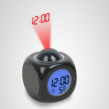 2017 LED Alarm Clock Projection Snooze Electronic Desk Clock Temperature Voice Talking LCD Display Multifunction Projector Watch