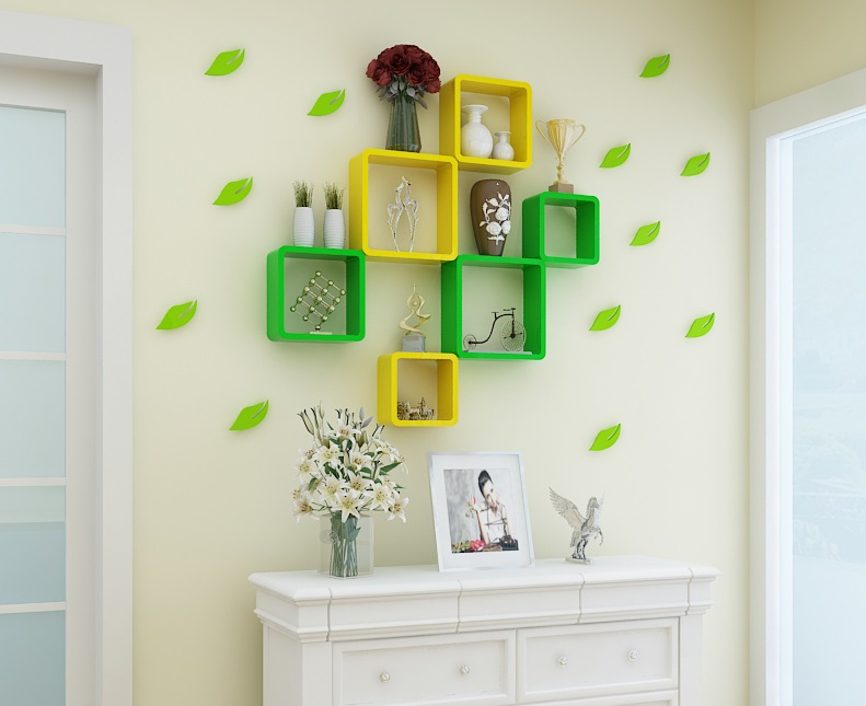 (1 Big Square +1 Medium Square+1 Small Square)/Lot  Colorful Wall Floating Shelf  Shelving Frame With Screws Decoration<br>