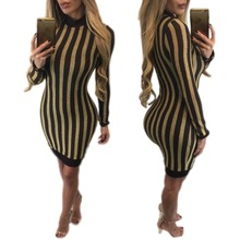 2017 Fashion sexy women spring bodycon club black golden striped o-neck knee-length full sleeve one-step dresses buy it now M416