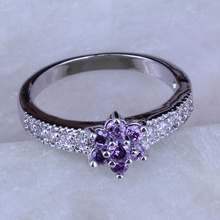 Love Monologue Exquisite Stackable Ring Minimalist Purple Crystal & Cubic Zirconia Silver Color Flower Small Rings J0223