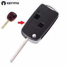 KEYYOU Flip Folding Remote Car Key Case Fob For LEXUS IS200 IS300 LS400 LS430 Key Shell 2 Buttons(China)