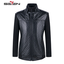 Seven7 New Winter Mens Black Motorcycle Leather Jackets Men Blazer Knitted Long Sleeve Casual Male Coat Brand Clothing 705K2648(China)