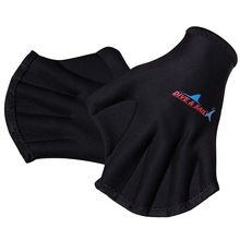 2mm Webbed Fingerless Gloves Black Swim Water Resistance Training swimming fins flippers