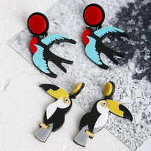 Hot Sell Acrylic Punk Rock Stud Earrings Nightclub Exaggeration Dangle Birds Parrot Stud Earrings For Women Fashion Jewelry(China)