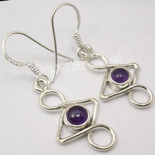 Silver Amethysts Handmade Nice Dangle Earrings 3.7CM(China)