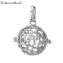 DoreenBeads Hollow Flower Round Copper Wish Box Pendants Can Open (Fit Bead Size: 16mm) About 3.2cm x2.5cm, 2 PCs