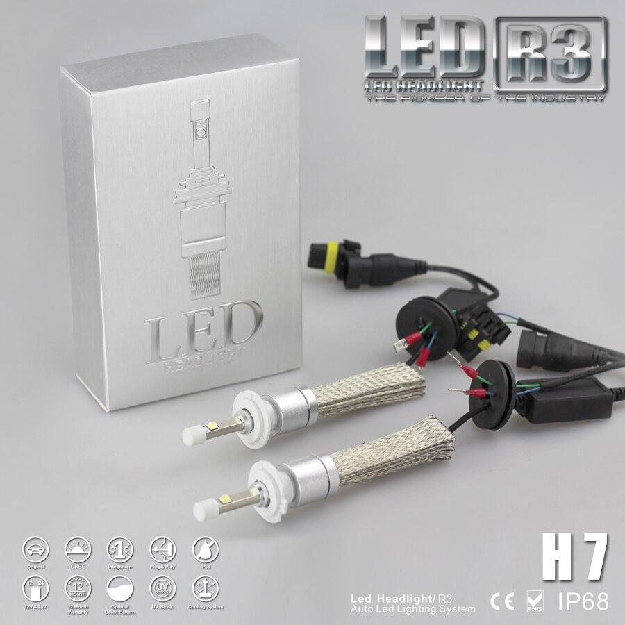 Super Bright 80W R3 9600lm H7 High Low White 6000K Car LED Headlight Conversion Kit Cree Chip XHP-50 4800lm Bulb<br><br>Aliexpress