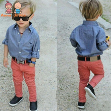 1 Suit Hot Fashion Boys and Girls Soft Denim Shirt + Jeans Suit Cotton Shirt and Cool Pants ATST0276