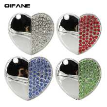 QIFANE 32GB 64G love U Disk jewelry Jewellery pen drive 4G 8G 16G USB Flash Drive crystal diamond business gift memory stick(China)