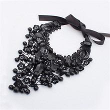 Gorgeous Fashion Black Lace Guipure Crochet Embellished Jewel Collar Vintage Necklace gift Jewelry Necklace *0104