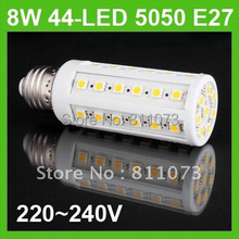 10PCS/LOT 8W E27 44 LED screw Corn Light LED SMD 5050 Bulb warm White Lamp(China)