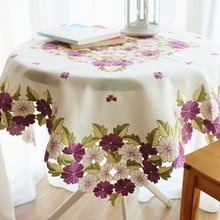 Romantic Purple Floral Table Linen,Elegant Flowers Embroidered Table Top Cover,Brand Christmas Table Decoration