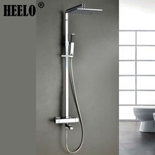 Buy Square wall mounted chrome thermostatic shower column rain shower faucet bathroom bath mixer bathtub faucets diverter spout for $456.00 in AliExpress store
